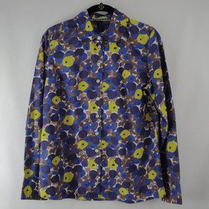 BODEN Blouse Blue Brown Multi Abstract Floral 12